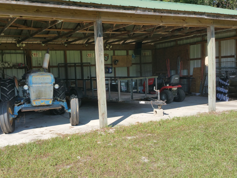 The Equipment Shed helps to house all our farm equipment, and provides a convenient place to store supplies.